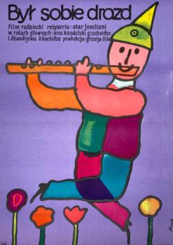 """Oryginalny polski plakat filmowy do filmu radzieckiego """"Był sobie drozd"""". Reżyseria: Otar Joseliani. Projekt: JERZY FLISAK"""