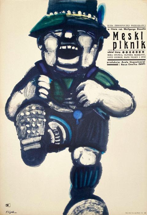 """Oryginalny polski plakat filmowy do filmu niemiecko-jugosłowiańskiego """"Męski piknik"""". Reżyseria: Wolfgang Staudte Projekt: JERZY FLISAK"""