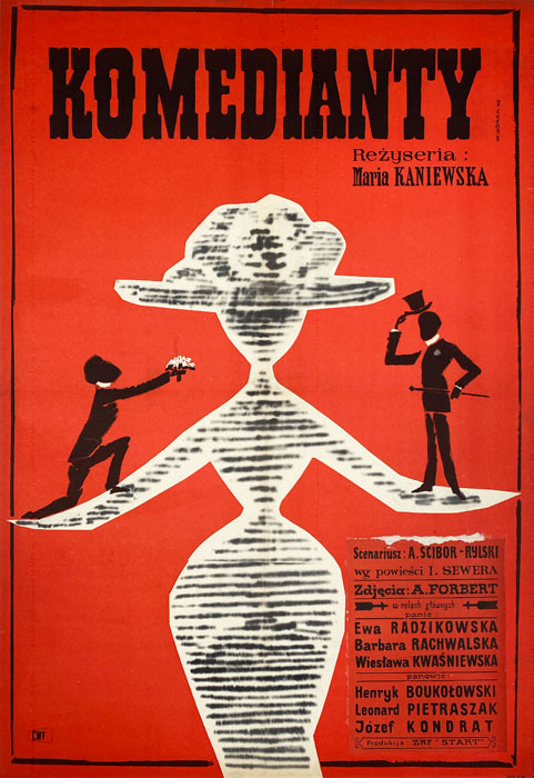 """Oryginalny polski plakat filmowy do polskiego filmu """"Komedianty"""". Reżyseria: Maria Kaniewska. Projekt plakatu: WIKTOR GÓRKA"""