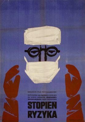 """Oryginalny polski plakat filmowy do radzieckiego filmu """"Stopien ryzyka"""". Reżyseria: Ilia Awerbach. Projekt: WITOLD CHMIELEWSKI"""