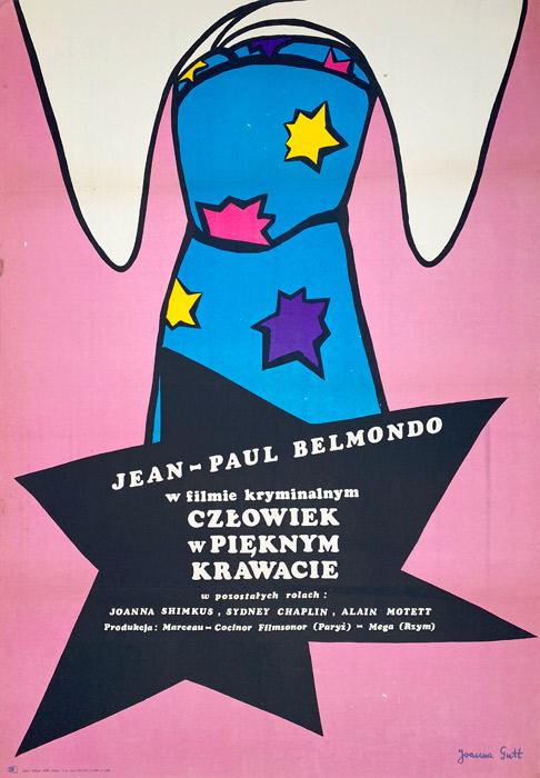 """Oryginalny polski plakat filmowy do francuskiego filmu """"Człowiek w pięknym krawacie"""". Reżyseria: Robert Enrico. Projekt: JOANNA GUTT"""