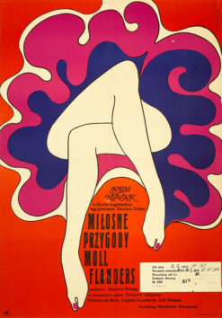 """Oryginalny polski plakat filmowy do angielskiego filmu """"Miłosne przygody Mol Flanders"""". Reżyseria: Terence Young. Projekt plakatu: WIKTOR GÓRKA"""