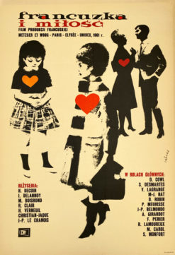 """Oryginalny polski plakat filmowy do francuskiego filmu """"Francuzka i miłość"""". Reżyseria: Michel Boisrond"""