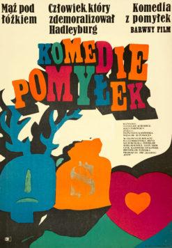 """Oryginalny polski plakat filmowy do polskiego filmu """"Komedie pomyłek"""". Reżyseria: Stanisław Różewicz"""