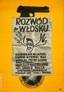 """Oryginalny polski plakat filmowy do włoskiego filmu """"Rozwód po włosku"""". Reżyseria: Pietro Germi. Projekt plakatu: MACIEJ RADUCKI"""