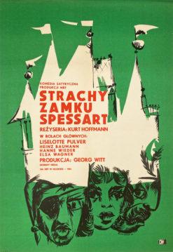 """Oryginalny polski plakat filmowy do filmu niemieckiego """"Strachy zamku Spessart"""". Reżyseria: Kurt Hoffmann. Projekt: TOMASZ RUMIŃSKI"""