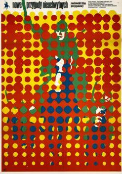 """Oryginalny polski plakat filmowy do radzieckiego filmu """"Nowe przygody nieuchwytnych"""". Reżyseria: Edmond Keosayan. Projekt plakatu: MIECZYSŁAW WASILEWSKI"""