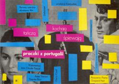"""Oryginalny polski plakat filmowy do hiszpańsko-francuskiego filmu """"Praczki z Portugalii"""". Reżyseria: Pierre Gaspard-Huit. Projekt plakatu: STANISŁAW ZAMECZNIK"""