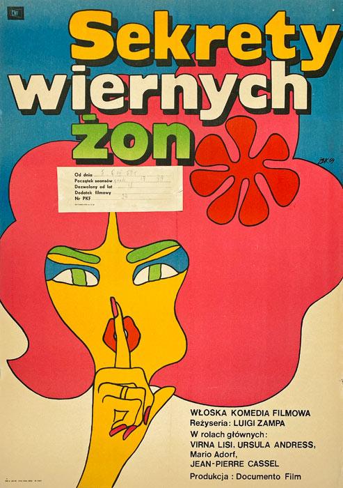 """Original Polish movie poster for Italian film """"Sekrety wiernych żon"""". Directed by Luigi Zampa. Poster designed by MACIEJ ŻBIKOWSKI"""