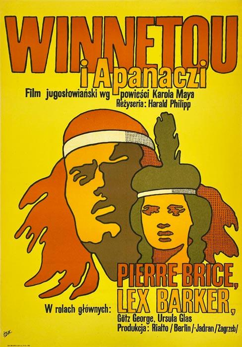 """Oryginalny polski plakat filmowy do filmu jugosłowiańskiego """"Winnetou i Apanaczi"""". Reżyseria: Harald Philipp. Projekt: MACIEJ ŻBIKOWSKI"""
