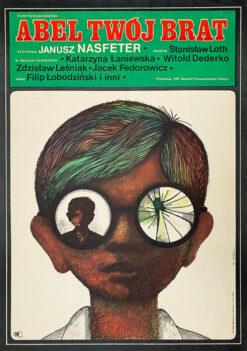 "Polska szkoła plakatu, plakat filmowy vintage PRL ""Abel twój brat"", proj. Maciej Hibner, 1970"