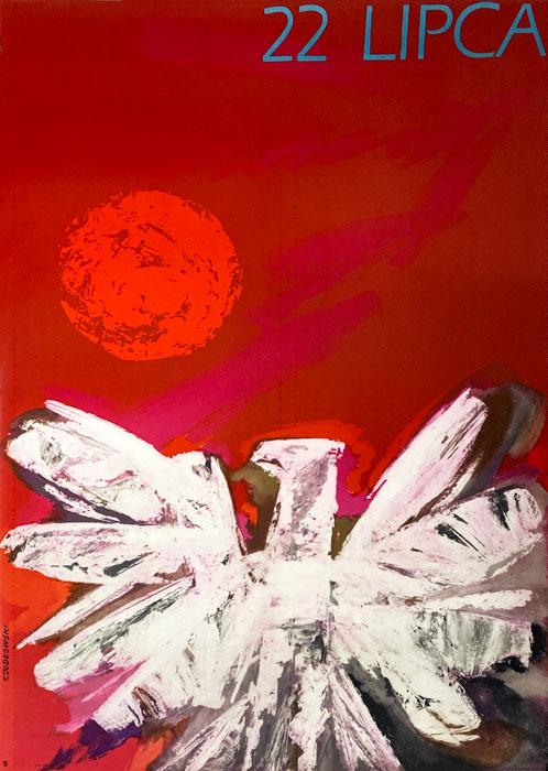 Oryginalny polski plakat propagandowy wydany z okazji święta 22 Lipca (Dwudziestolecie Polskiej Rzeczpospolitej Ludowej). Projekt plakatu: TADEUSZ JODŁOWSKI