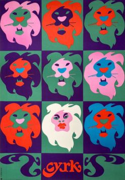 Oryginalny polski plakat cyrkowy przedstawiający dziewięć głów lwów. Projekt plakatu: TADEUSZ JODŁOWSKI