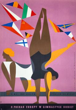 Oryginalny polski plakat sportowy reklamujący II Puchar Europy w Gimnastyce Kobiet w 1959 roku. Projekt: TADEUSZ JODŁOWSKI