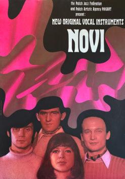 """Oryginalny polski plakat reklamujący zespół jazzowy """"Novi"""" (New Original Vocal Instruments) . Projekt: TADEUSZ JODŁOWSKI"""