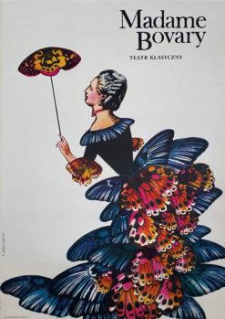 """Oryginalny polski plakat operowy reklamujący sztukę """"Madame Bovary"""" wg powieści Gustawa Flauberta w Teatrze Klasycznym. Projekt: TADEUSZ JODŁOWSKI"""