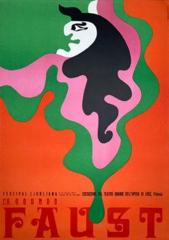 """Oryginalny polski plakat operowy reklamujący operę """"Faust"""" Charlesa Gounoda na Festiwalu w Lublanie. Projekt: TADEUSZ JODŁOWSKI"""
