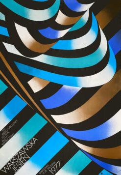 Oryginalny polski plakat reklamujący XXI Międzynarodowy Festiwal Muzyki Współczesnej Warszawska Jesień 1977. Projekt plakatu: TADEUSZ JODŁOWSKI