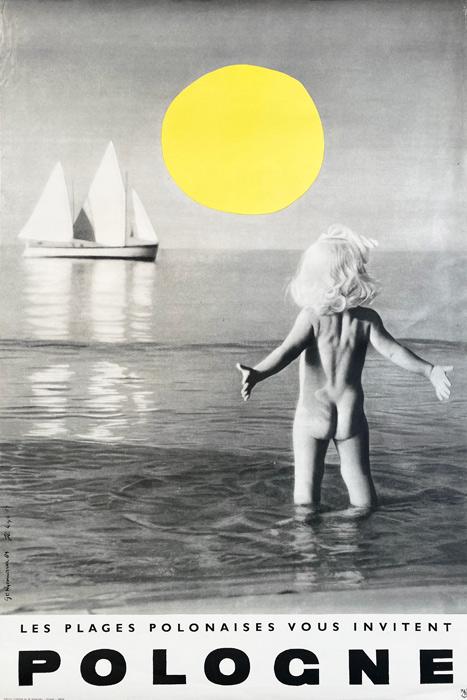 Polska szkoła plakatu, plakat turystyczny vintage, PRL, Poland-seacoast, Zbigniew Kaja, 1964