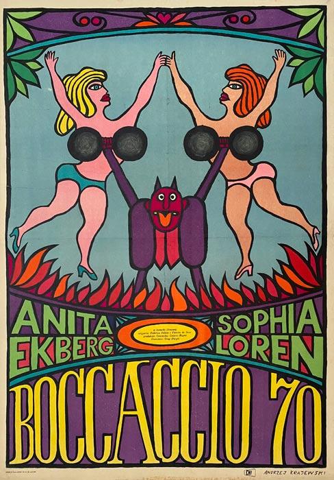 """Oryginalny polski plakat filmowy do włoskiego filmu """"Boccaccio 70"""". Reżyseria: Vittorio de Sica"""