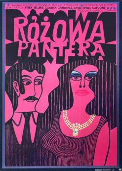 """Oryginalny polski plakat filmowy do angielskiego filmu """"Różowa Pantera"""". Reżyseria: Blake Edwards. Projekt plakatu: ANDRZEJ KRAJEWSKI"""
