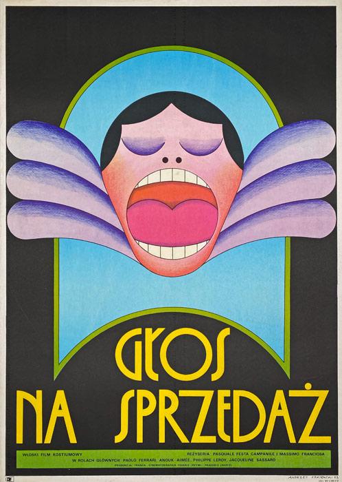 """Oryginalny polski plakat filmowy do włoskiego filmu """"Głos na sprzedaż"""". Reżyseria: Pascale Campanile"""