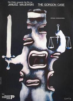 """Polska szkoła plakatu, plakat filmowy vintage PRL """"Sprawa Gorgonowej"""", Jan Lenica, 1977"""