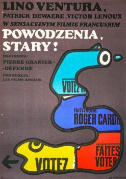 """Polska szkoła plakatu, plakat filmowy vintage PRL """"Powodzenia stary"""" Jan Młodożeniec, 1971"""