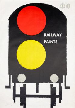 """Oryginalny polski plakat reklamowy Wrocławskiej Fabryki Farb i Lakierów reklamujący farby kolejowe """"Railway paints"""". Projekt plakatu: niesygnowany"""