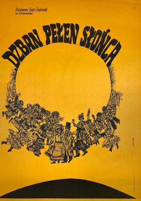 """Oryginalny polski plakat teatralny do sztuki """"Dzban pełen słońca"""" w Teatrze Żydowskim w Warszawie. Projekt: MARIAN STACHURSKI"""