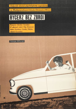 """Oryginalny polski plakat filmowy do bułgarskiego filmu """"Rycerz bez zbroi"""". Reżyseria: Borisław Szaralijew. Projekt plakatu: MARIAN STACHURSKI"""