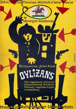 """Oryginalny polski plakat filmowy do amerykańskiego westernu """"Dyliżans"""". Reżyseria: John Ford. Projekt plakatu: JERZY TREUTLER"""