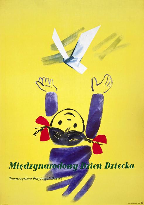 Oryginalny polski plakat społeczny wydany z okazji Międzynarodowy Dzień Dziecka