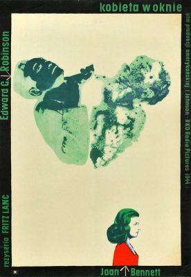 """Oryginalny polski plakat filmowy do amerykańskiego filmu """"Kobieta w oknie"""". Reżyseria: Fritz Lang. Projekt plakatu: WOJCIECH ZAMECZNIK"""