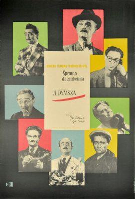 """Oryginalny polski plakat filmowy z 1954 r. do polskiego filmu """"Sprawa do załatwienia"""". Reżyseria: Jan Rybkowski"""