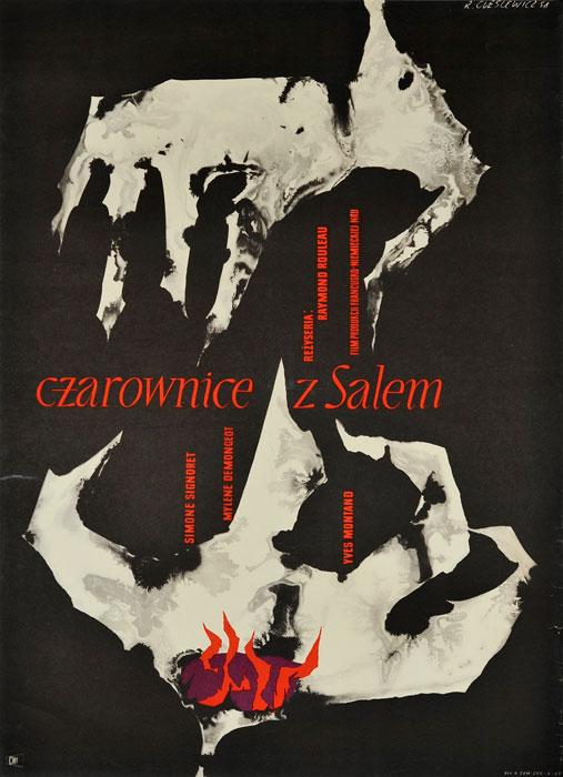 """Oryginalny polski plakat filmowy do francuskiego filmu """"Czarownice z Salem"""". Reżyseria: Raymond Rouleau. Projekt plakatu: ROMAN CIEŚLEWICZ"""