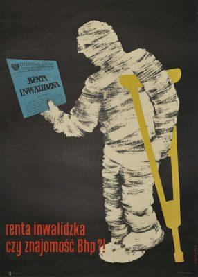 """Oryginalny polski plakat społeczny BHP """"Renta inwalidzka czy znajomość BHP? (zabandażowany inwalida czytający Dziennik Ustaw)"""" . Projekt: J. KĘPKIEWICZ"""
