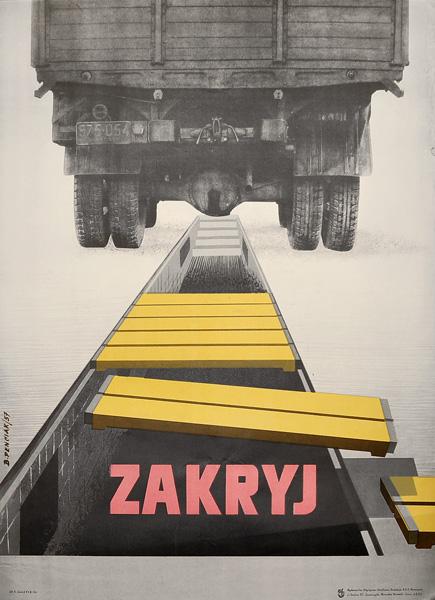 """Oryginalny polski plakat społeczny BHP """"Zakryj"""" . Projekt BOLESŁAW PENCIAK"""