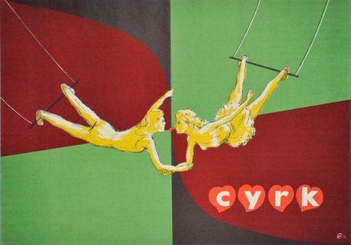 Oryginalny polski plakat cyrkowy przedstawiający parę akrobatów na trapezie. Projekt plakatu: niesygnowany