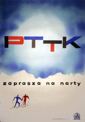 Oryginalny polski plakat turystyczny z lat 1960-tych reklamujący narciarstwo w polskich górach. Projekt plakatu: MIECZYSŁAW SZOSTAK