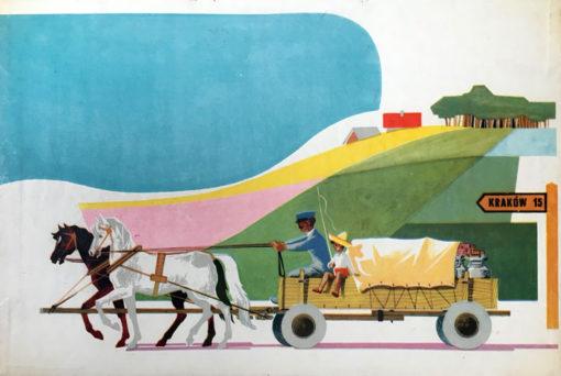 Oryginalny polski plakat wchodzący w skład serii Środki transportu w Polsce. Projekt plakatu: JANUSZ GRABIAŃSKI (?)