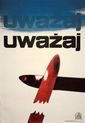 Oryginalny polski plakat turystyczny z lat 1960-tych propagujący bezpieczną jazdę na nartach. Projekt plakatu: MIECZYSŁAW SZOSTAK