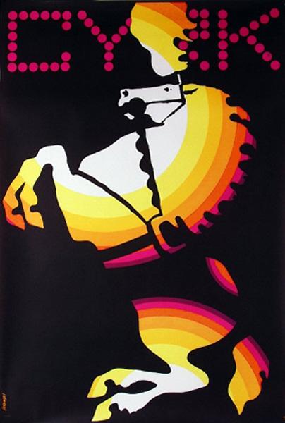 Oryginalny polski plakat cyrkowy przedstawiający konia stającego dęba. Projekt: WITOLD JANOWSKI