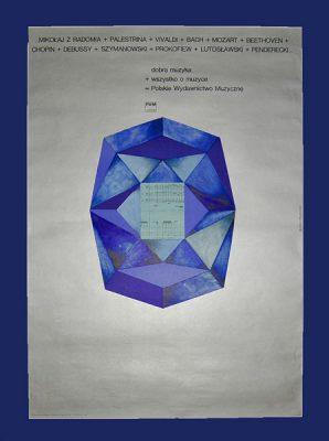 Plakat reklamujący Polskie Wydawnictwo Muzyczne wydany w 1970 r. w nakładzie 700 szt. Projekt plakatu: BOŻENA ROGOWSKA