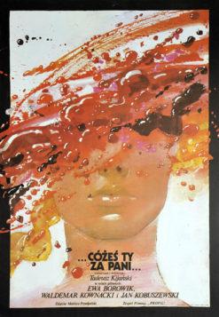 """Polish school of poster, vintage movie poster PRL, """"Cóżeś ty za Pani"""" Waldemar Świerzy"""