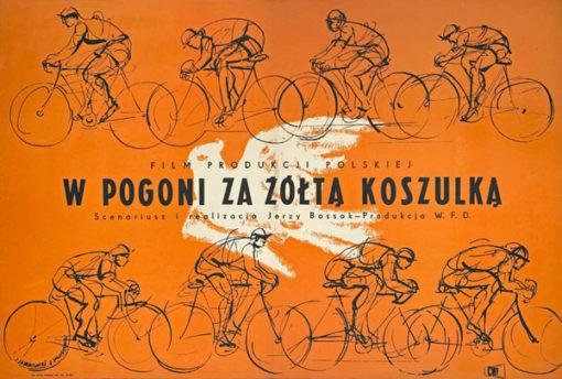 """plakat filmowy """"W pogoni za żółtą koszulka"""" Jan Mlodozeniec, Jerzy Jaworowski"""