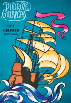 "polish school of poster, vintage theater poster, ""Podróże Guliwera"" Tadeusz Jodłowski"
