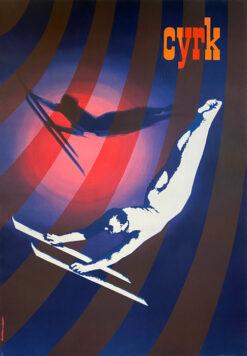 """plakat cyrkowy """"Akrobata z nartami"""" Andrzej Kowalewski"""