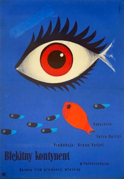 """plakat filmowy """"Błękitny kontynent"""" Wiktor Górka"""