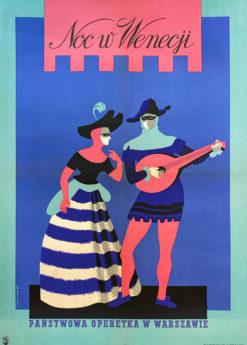 """plakat teatralny """"Noc w Wenecji"""" Józef Mroszczak"""